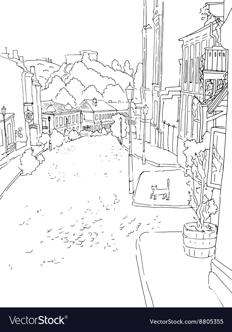 Monochrome sketch city town urban