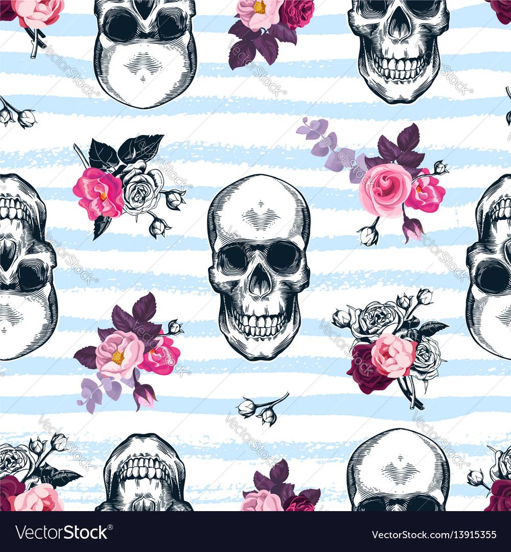 Seamless pattern with human skulls and semi