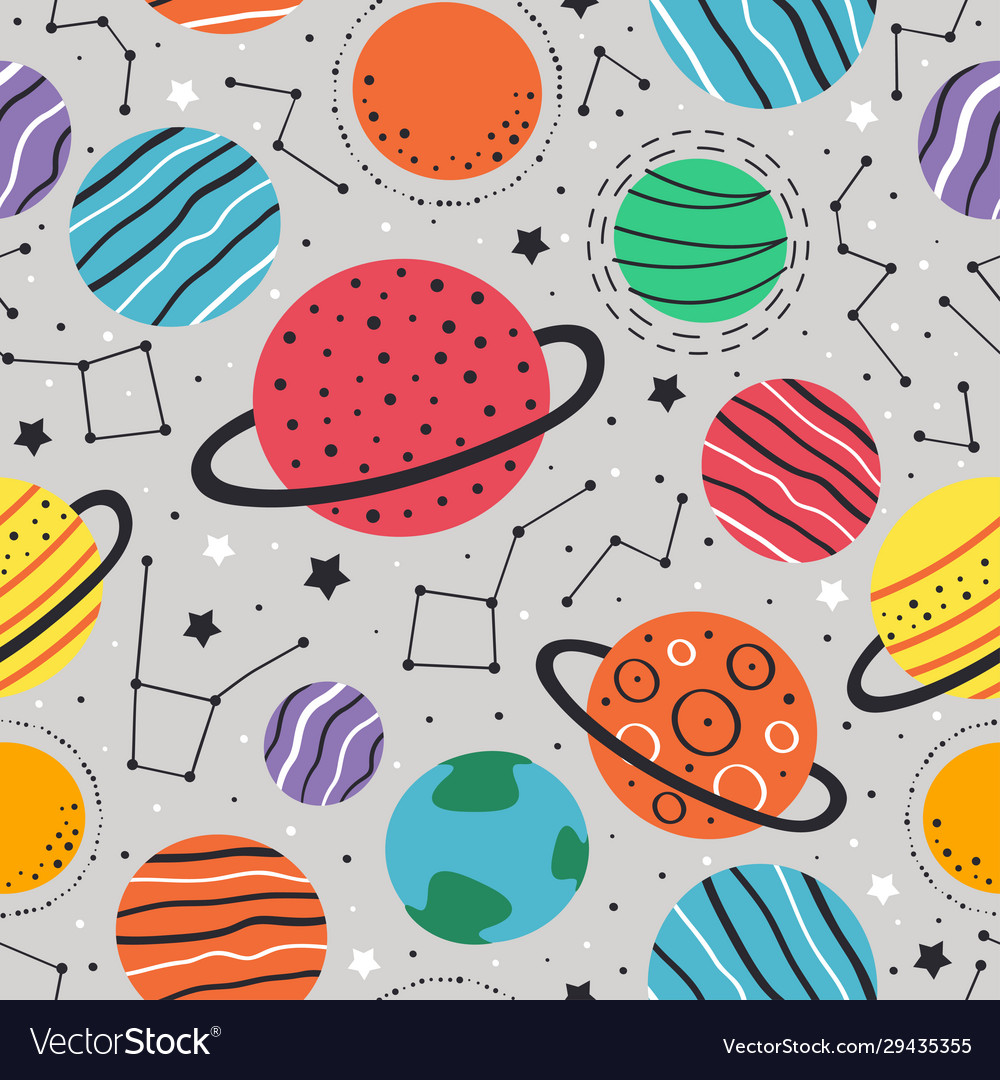 Seamless pattern with planets and stars