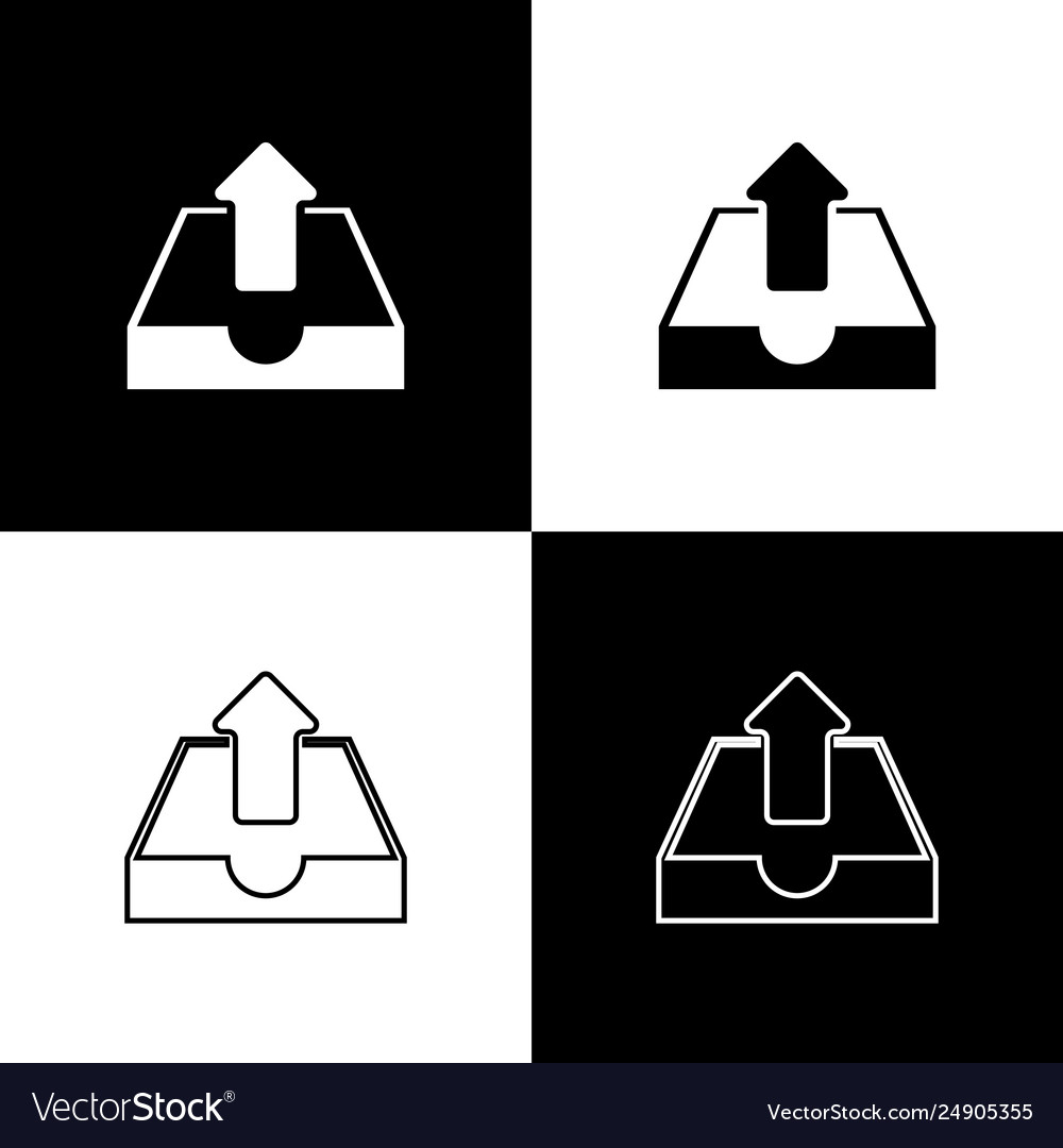 Set upload inbox icons isolated on black and white
