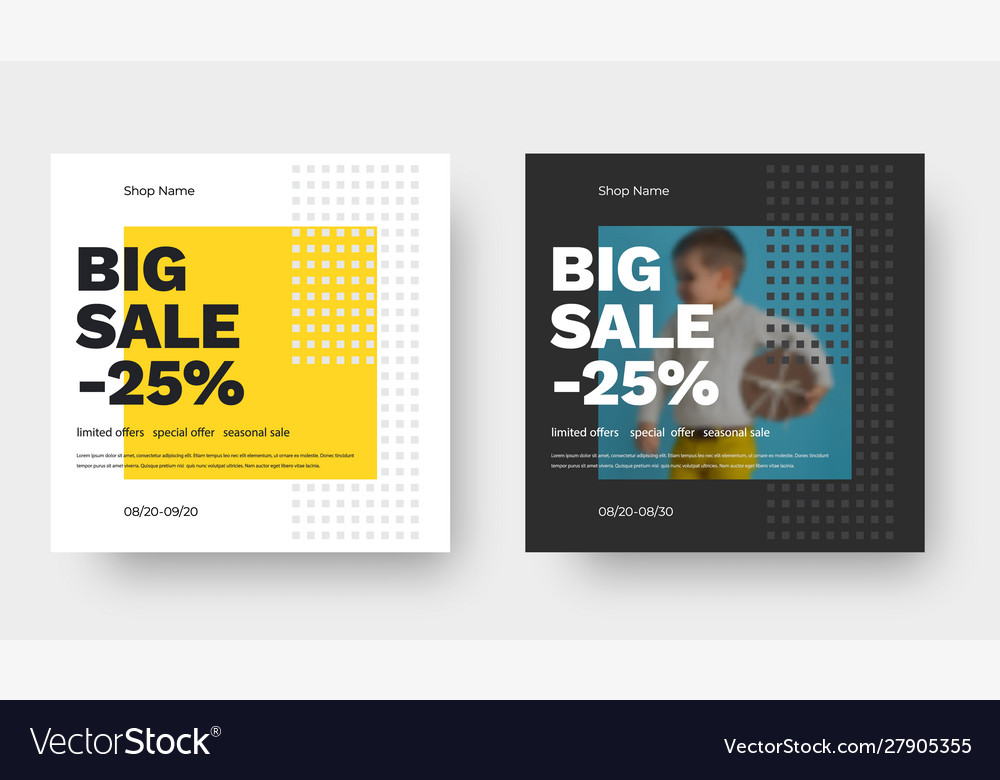 Square banner design for big sale with yellow