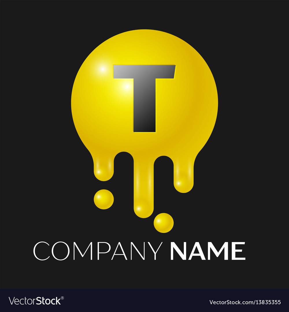 T letter splash logo yellow dots and bubbles