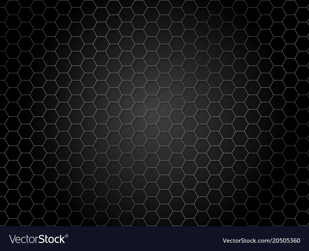 Abstract striped hexagon pattern on dark vector image