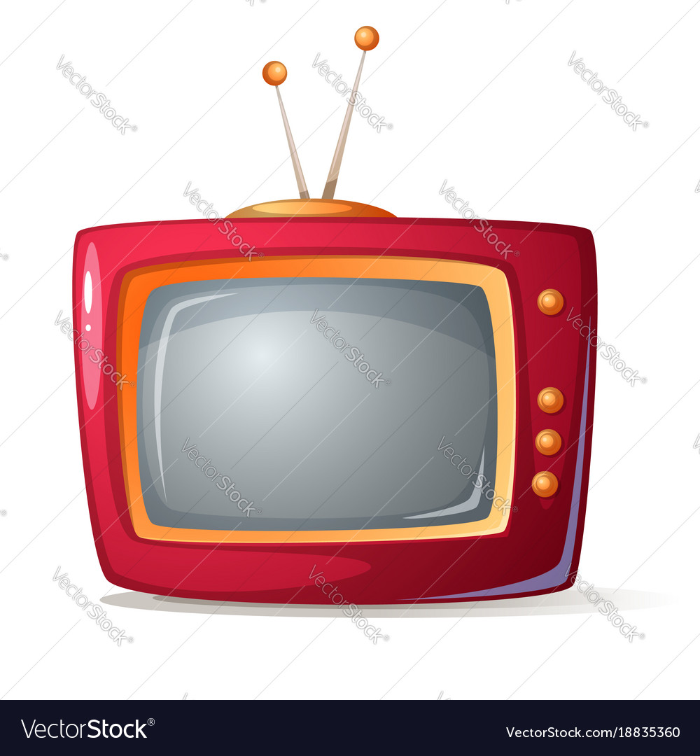 Cartoon red tv shadow and glare
