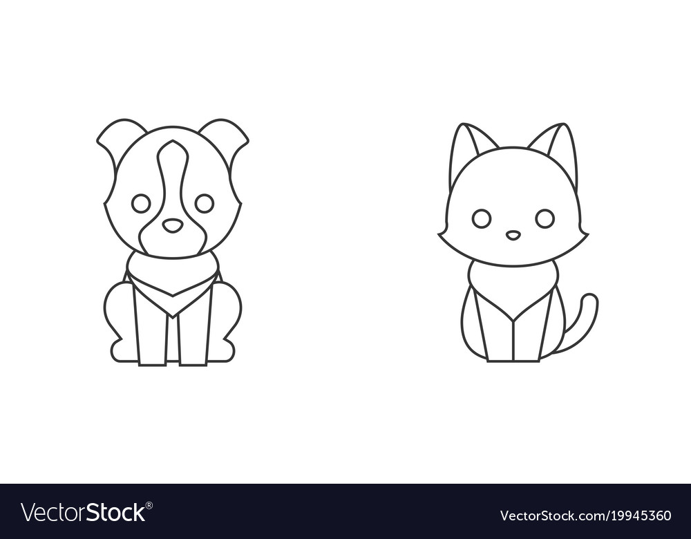 Cat and dog thin line icon pet shop concept