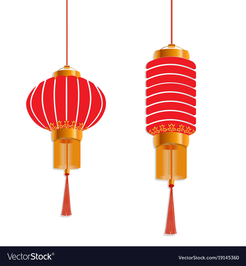 Chinese new year red lanterns are round and