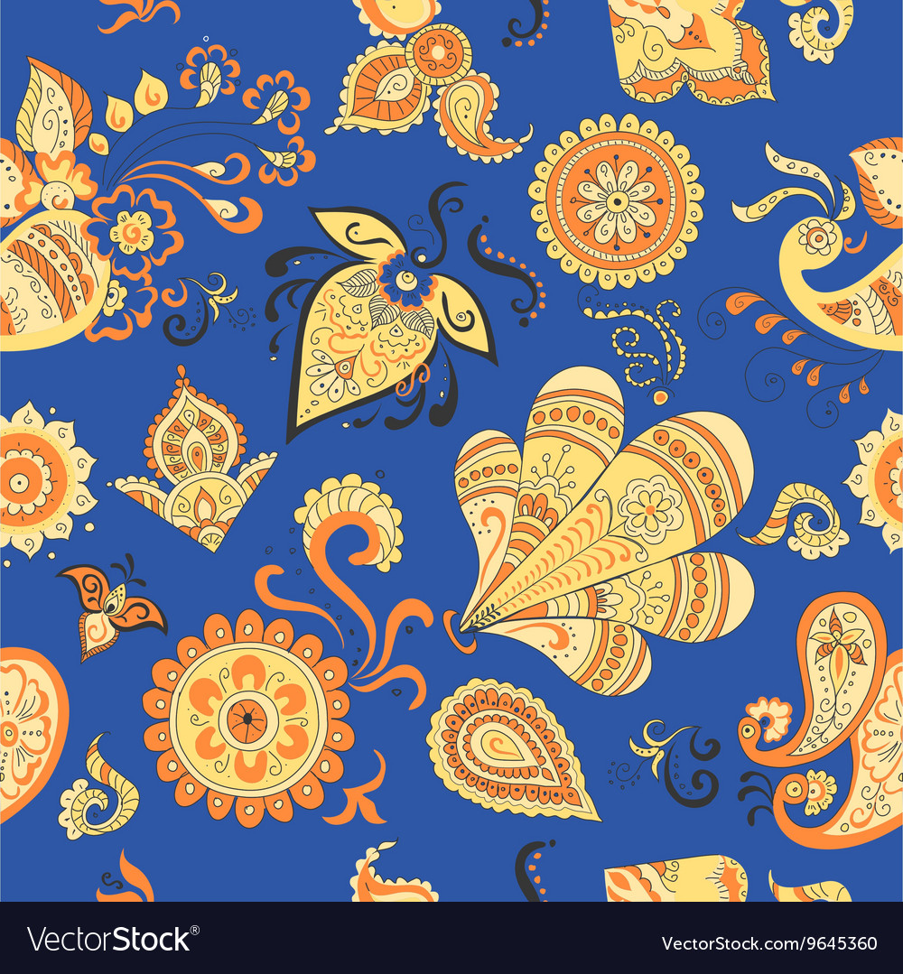 Colored Indian vintage floral seamless pattern