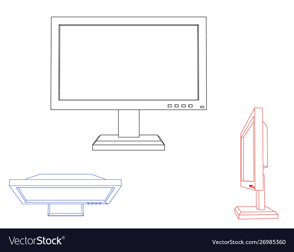 Computer monitor icon isolated on white