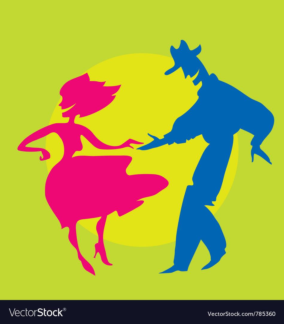 Dancing silhouette vector image