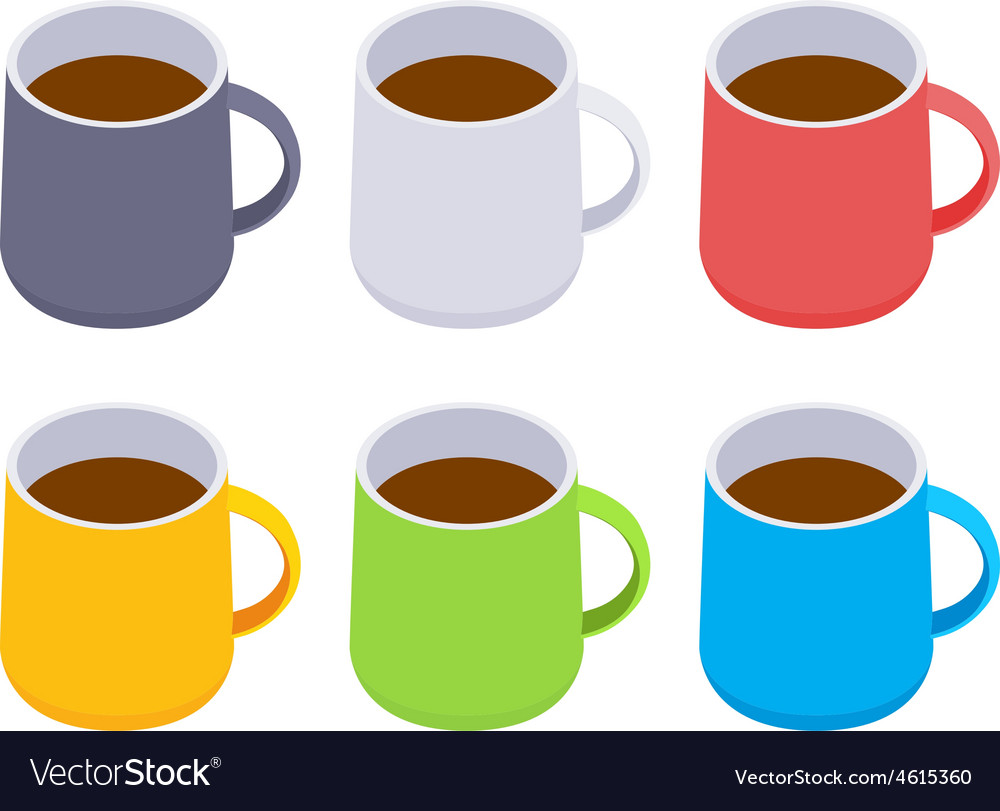 isometric colored coffee mugs royalty free vector image