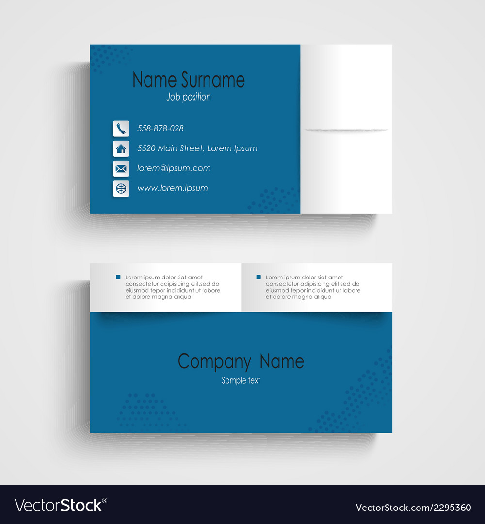 Modern Sample Blue Business Card Template Vector Image