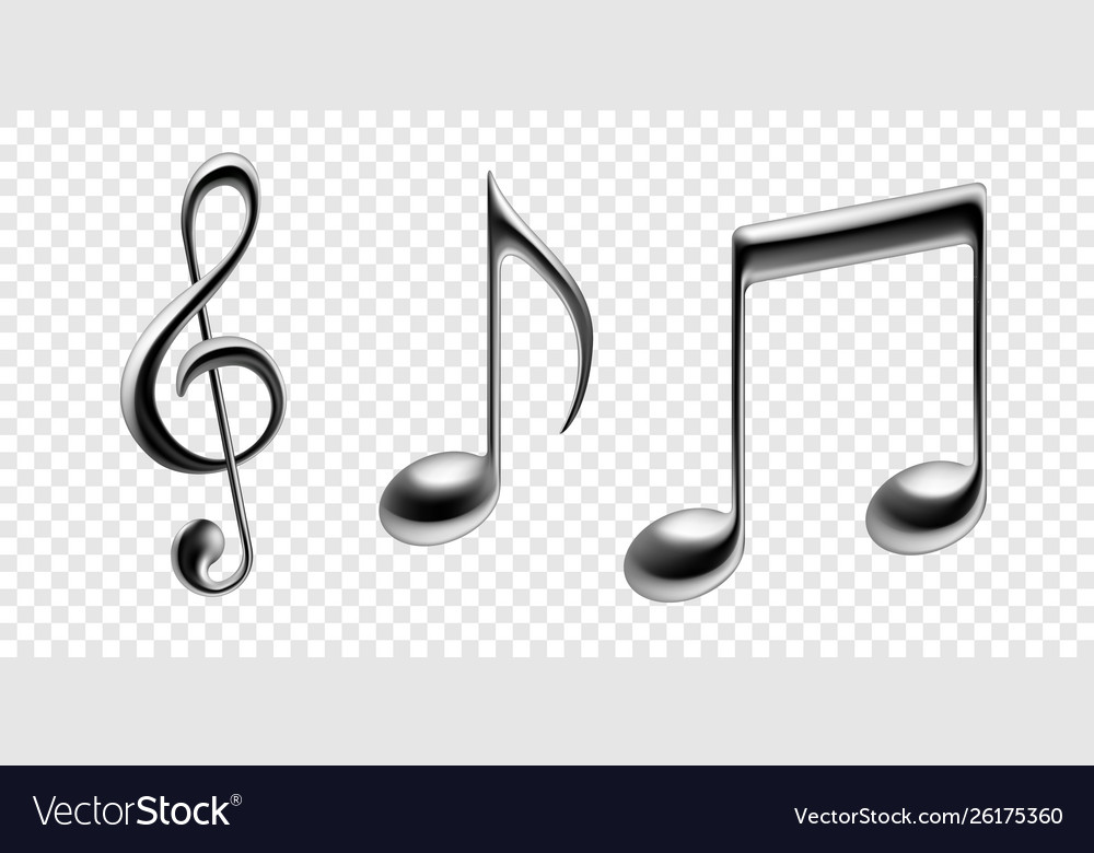 Music notes metallic isolated icons