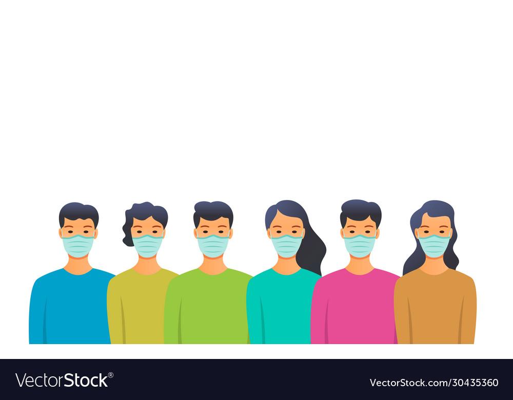 People in medical masks people in quarantine