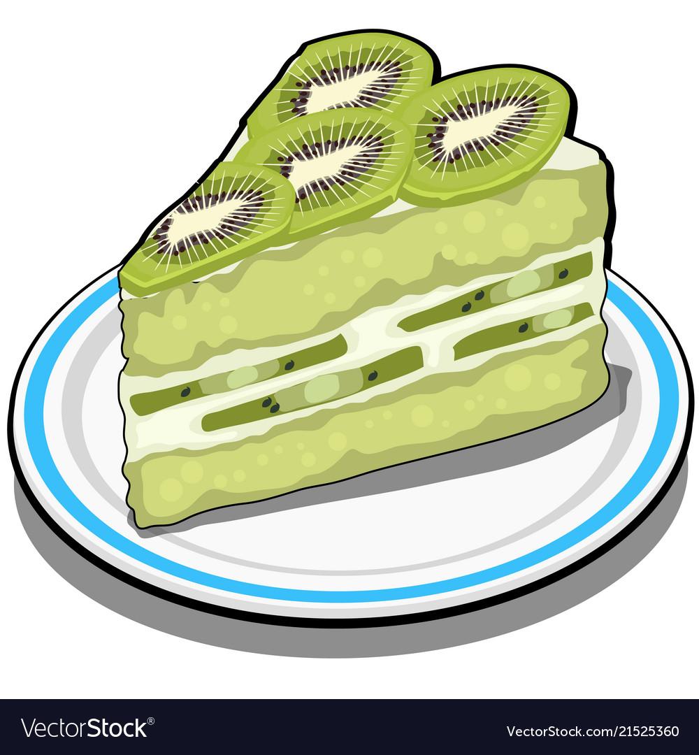Slice of delicious fruit kiwi cake dessert