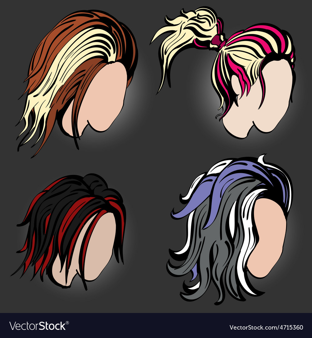 Stylish hairstyles vector image