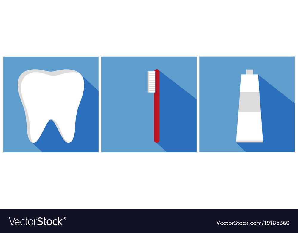 Tooth with toothbrush and toothpaste flat design