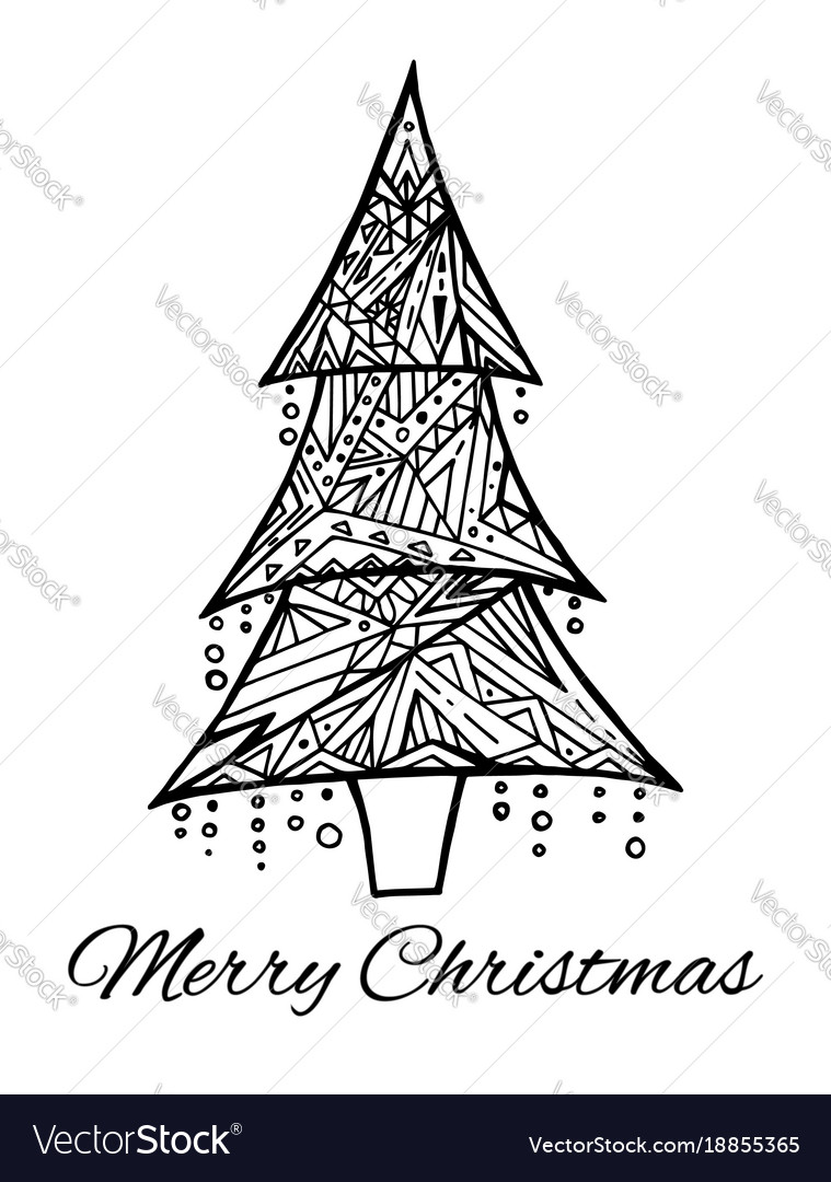 Card with doodle black and white christmas tree Vector Image