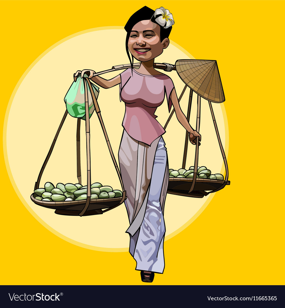 Cartoon cheerful Vietnamese woman walks with fruit
