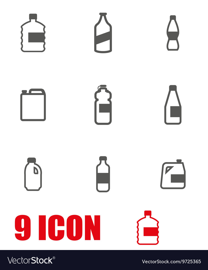Grey bottles icon set