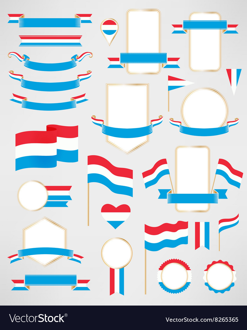 Luxembourg flag decoration elements