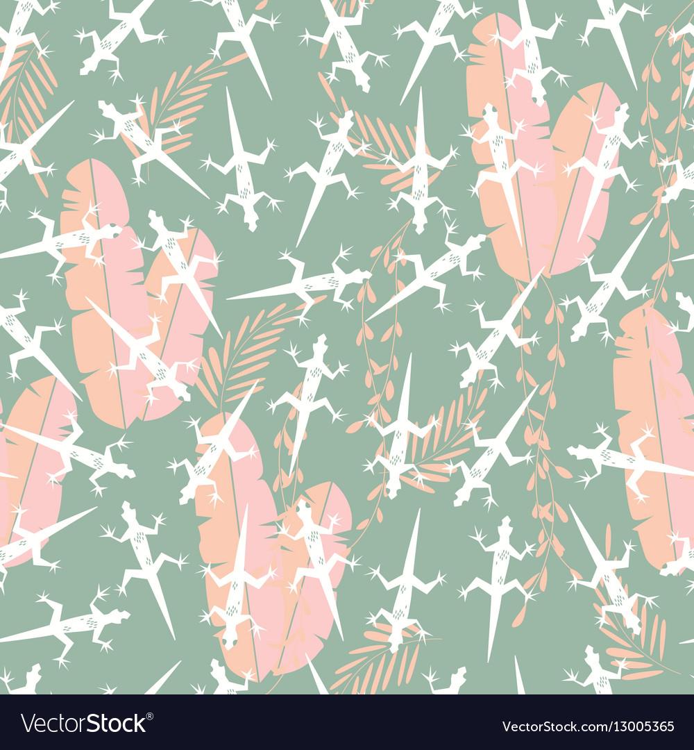Seamless pattern with cute green gecko lizard vector image