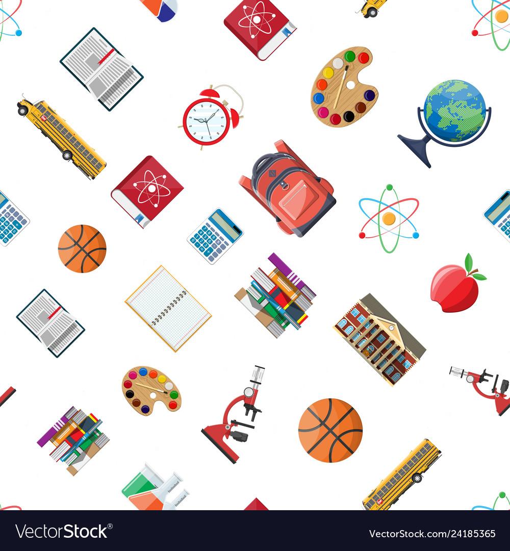 Seamless school set pattern