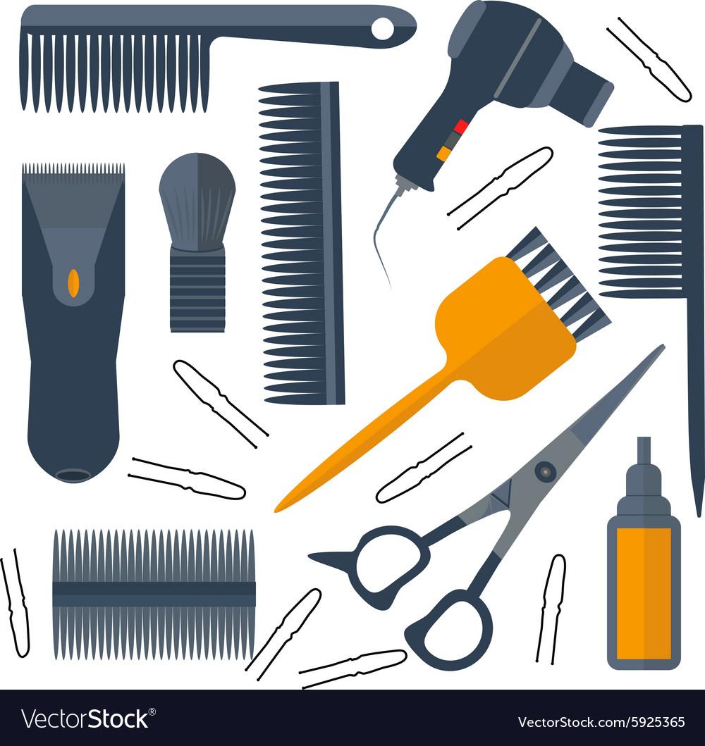 Set isolated tools for hairdresser hair scissors