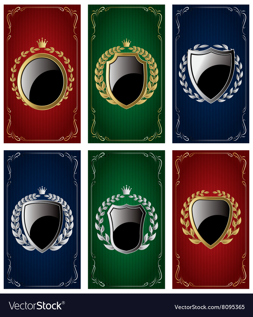 Set templates for business cards with Heraldic vector image