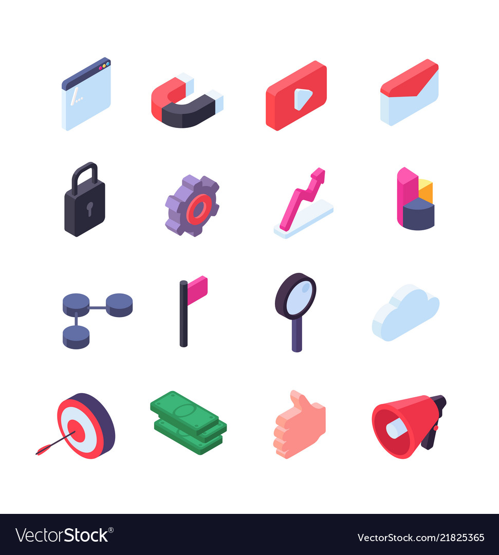 Social network isometric icons media and seo