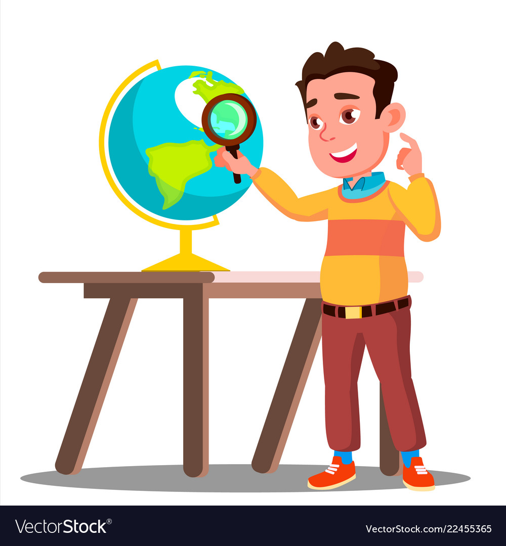 Student looking through a magnifying glass globe