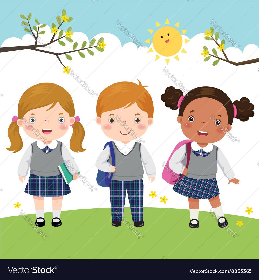 Three kids in school uniform going to school vector image