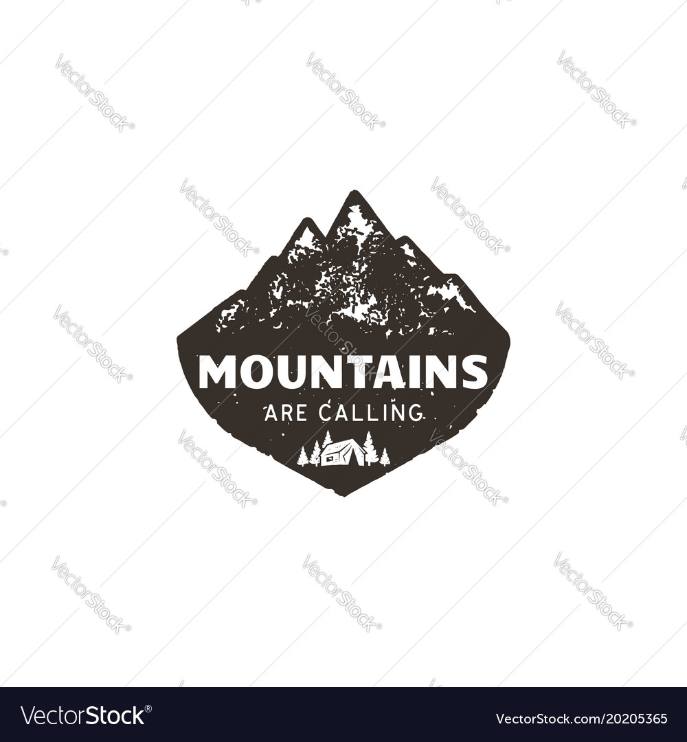 Vintage hand drawn mountain logo the great