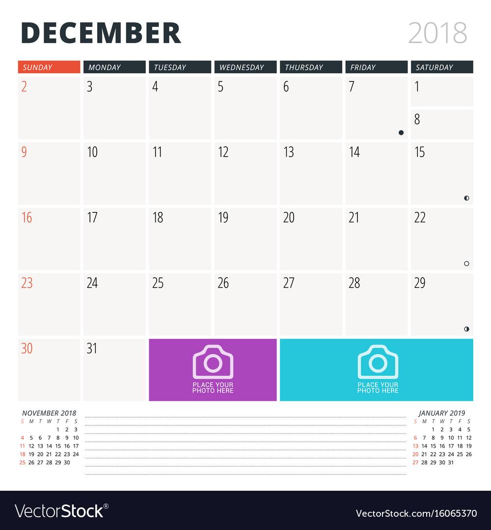 calendar planner for december 2018 design vector image