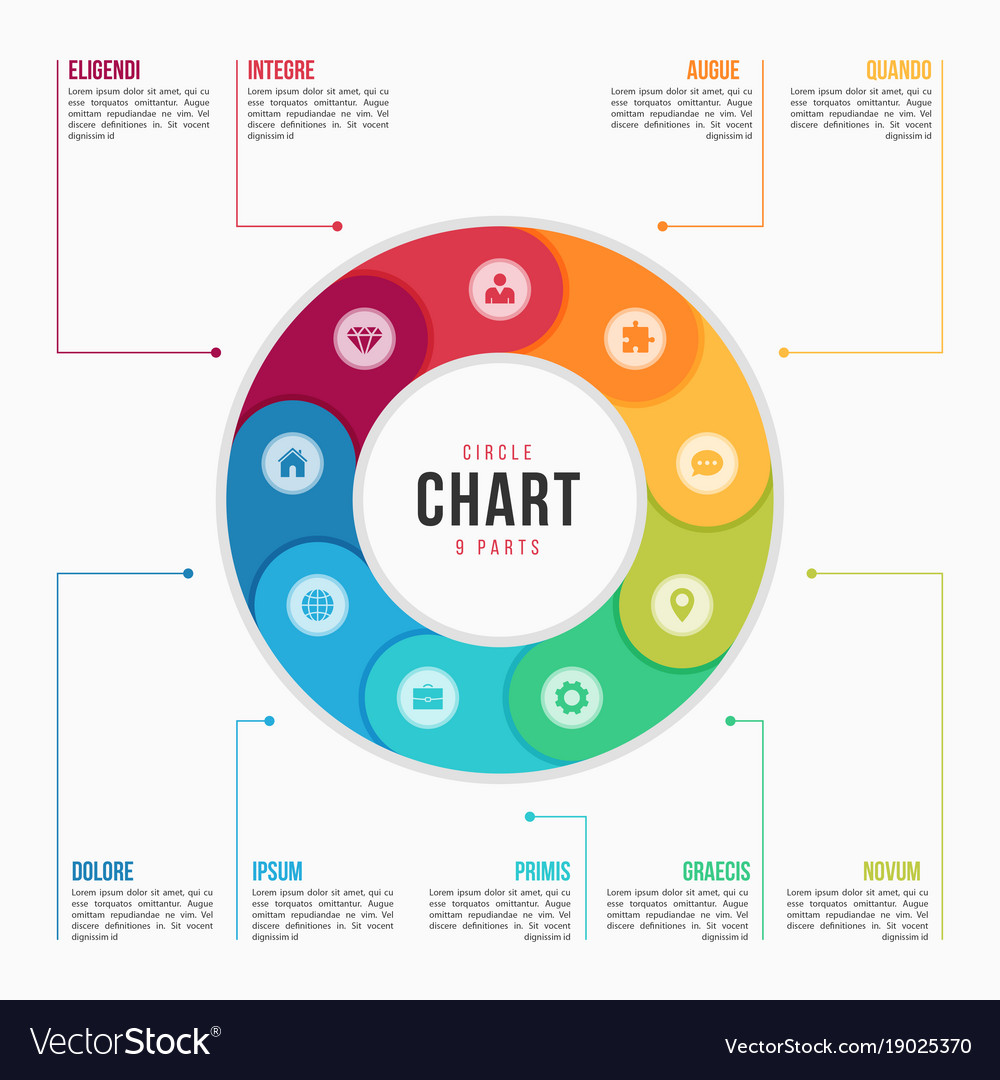 Circle chart infographic template with 9 parts vector image ccuart Images