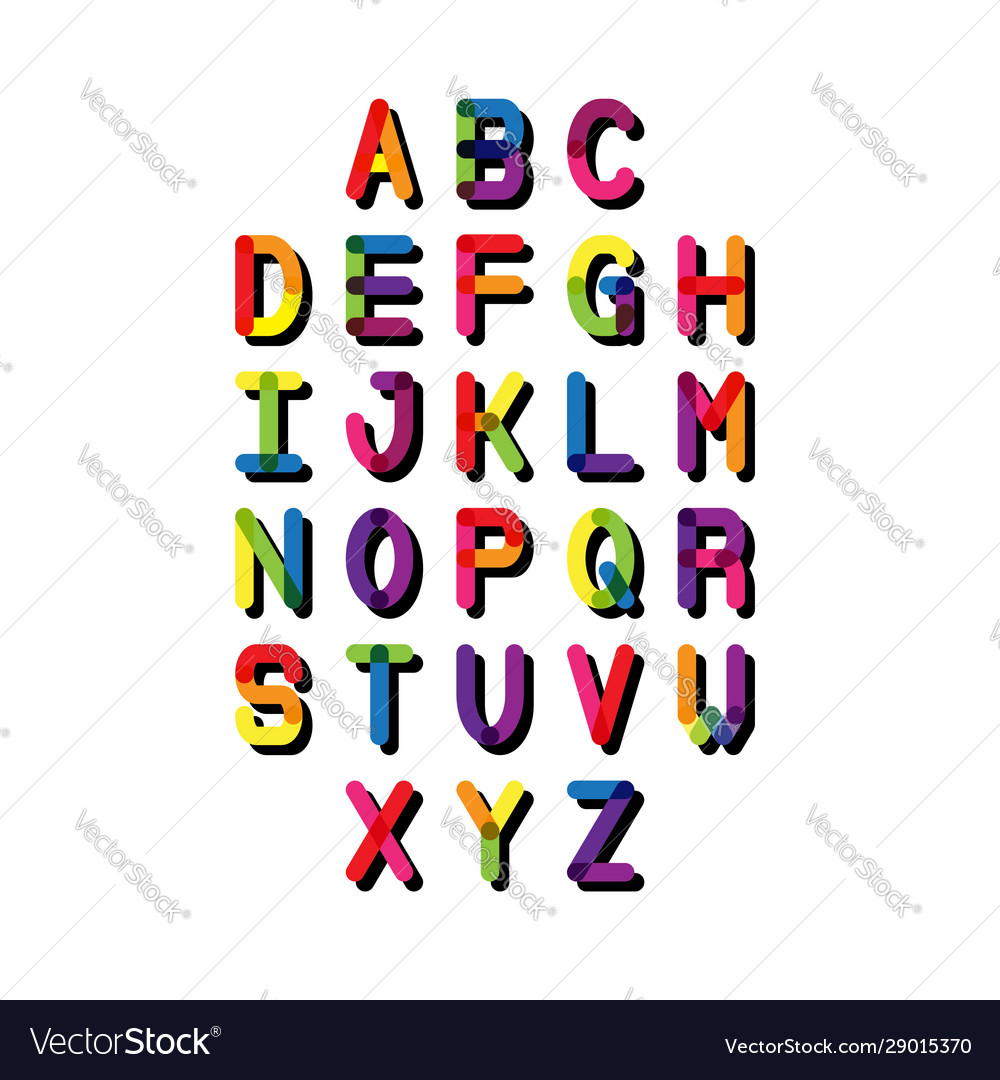 Colorful font and alphabet