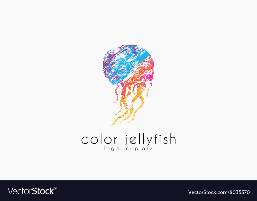 Jellyfish logo design Sea logo Ocean logo design