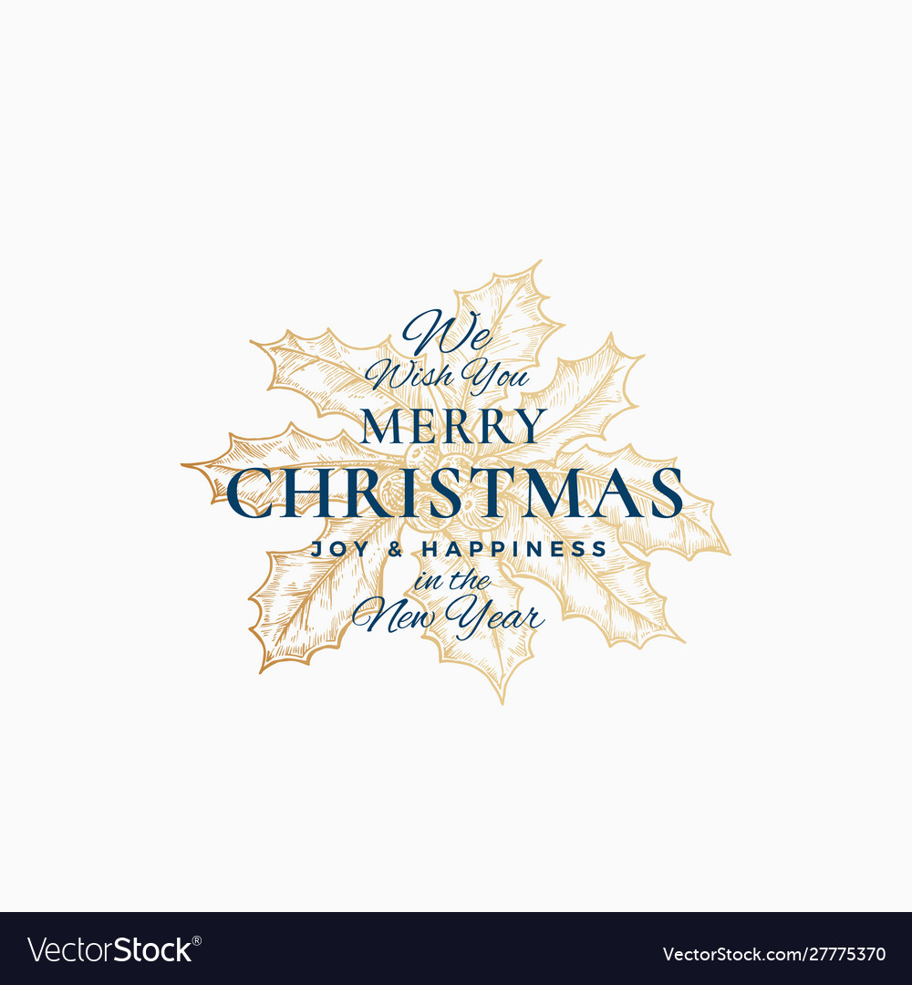 Merry christmas abstract retro label logo