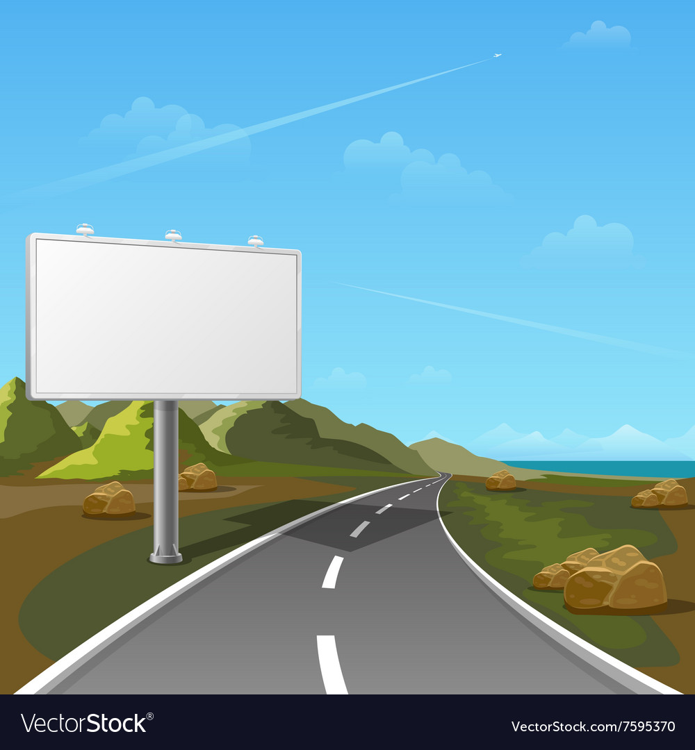 Road Billboard With Landscape Background Vector Image