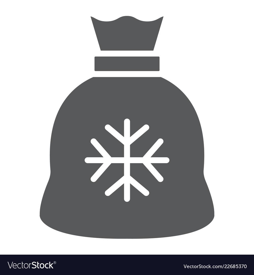 Santa bag gyph icon christmas and holiday