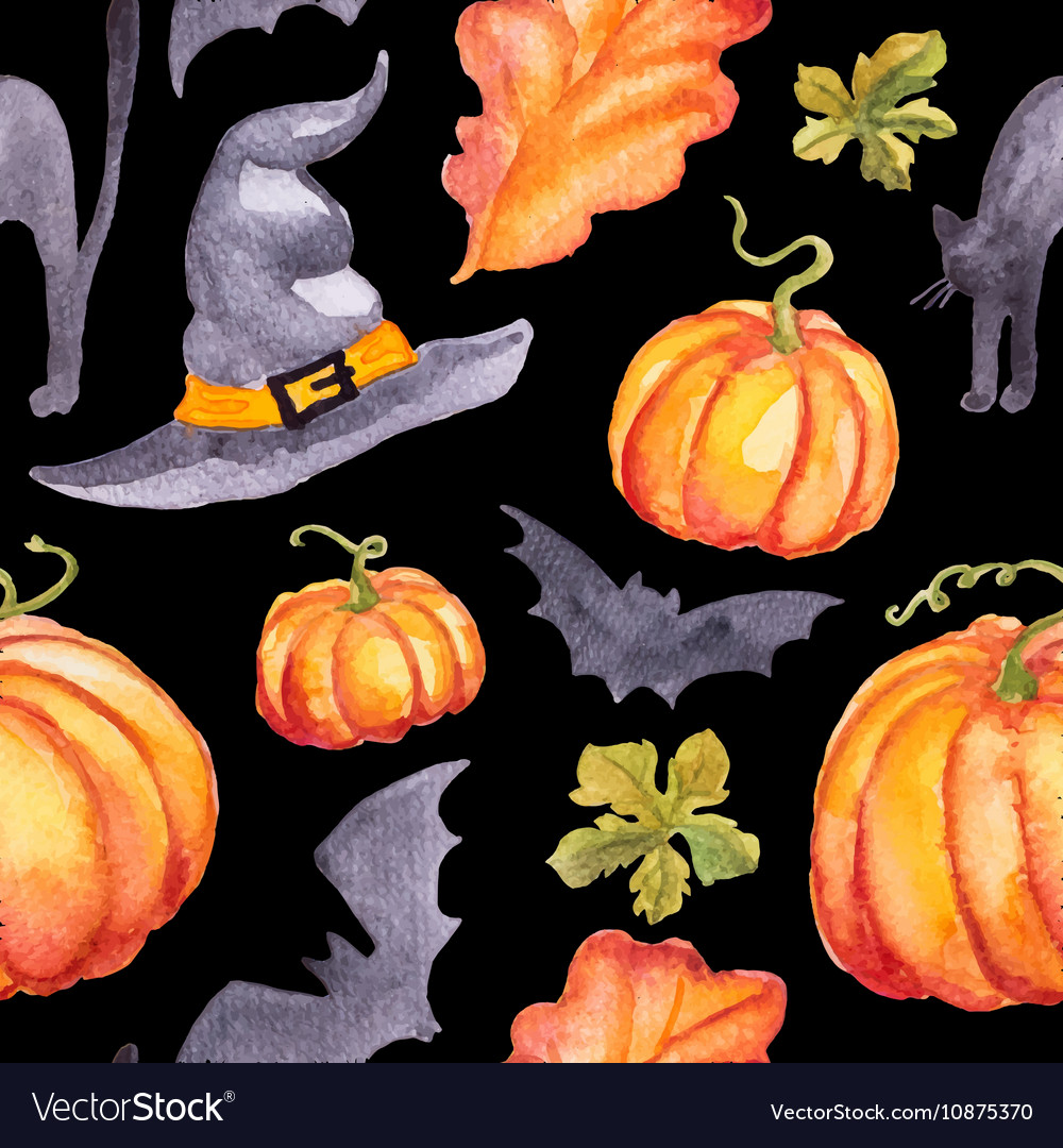 Seamless pattern wirh watercolor pumpkins hat abd