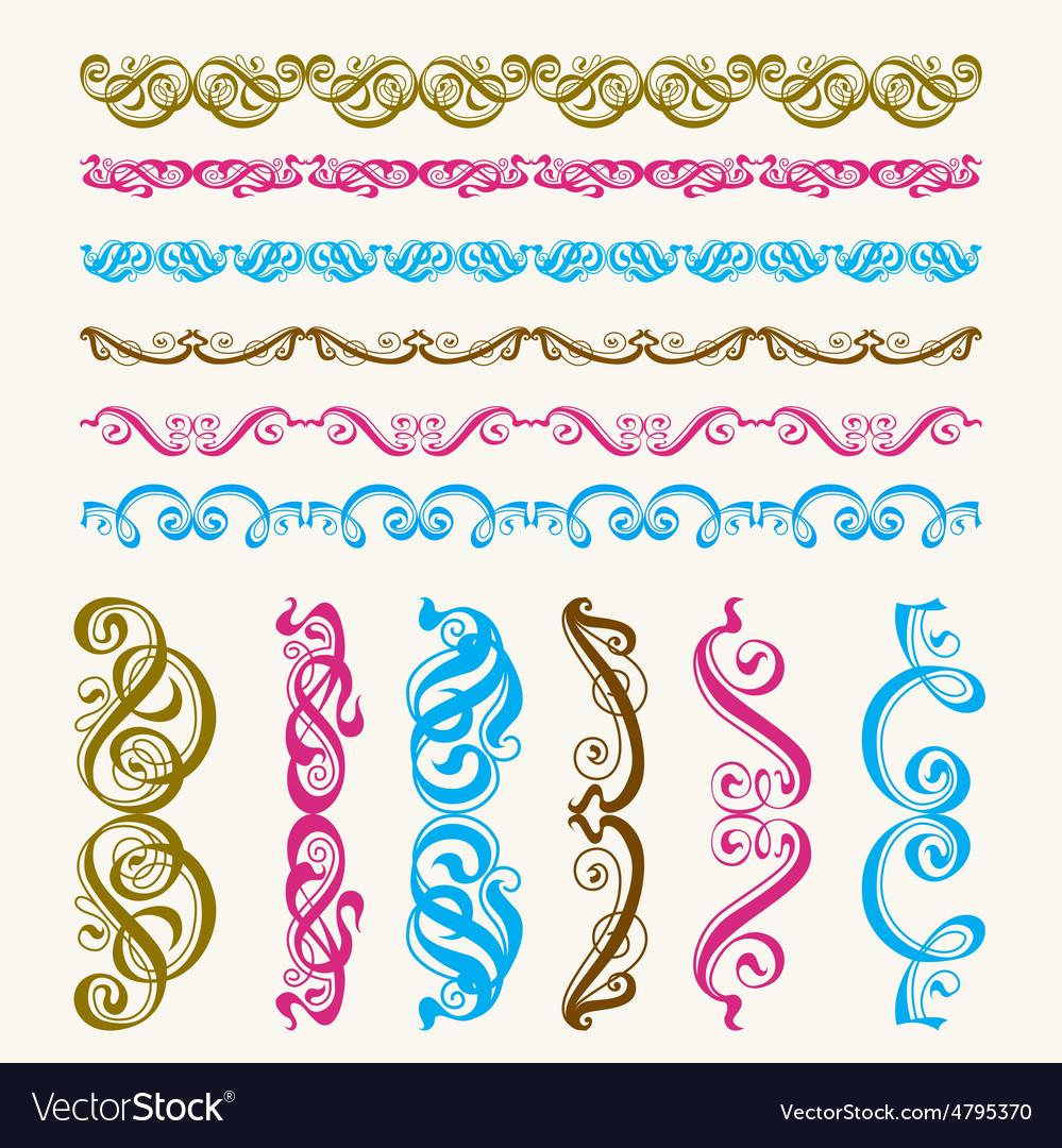 Set of perfect calligraphic brush