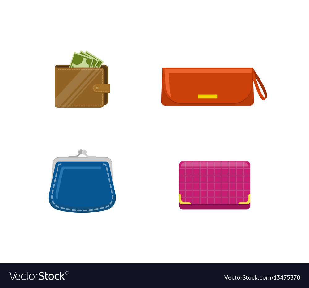 Set of purses and wallets with mone set of vector image