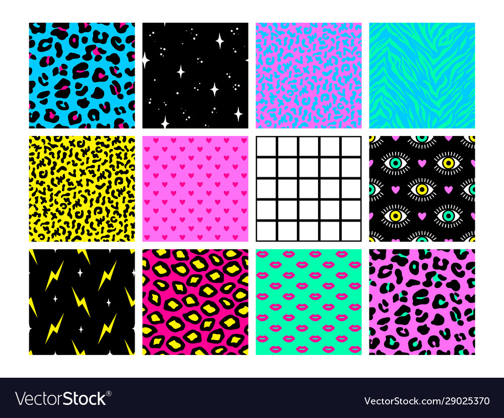 Set seamless patterns in trendy acid