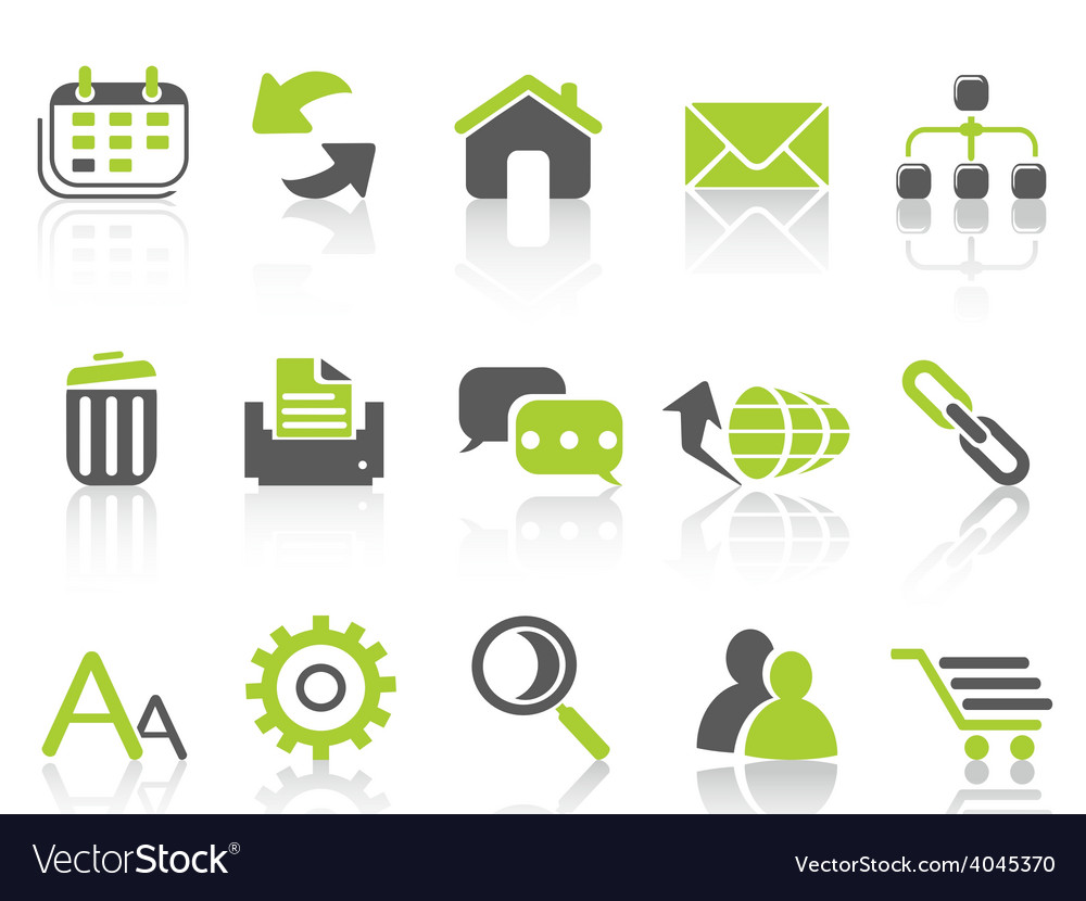 Web internet icons green series vector image