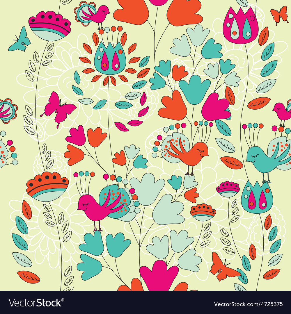 A Seamless Retro Style Pattern with Birds and