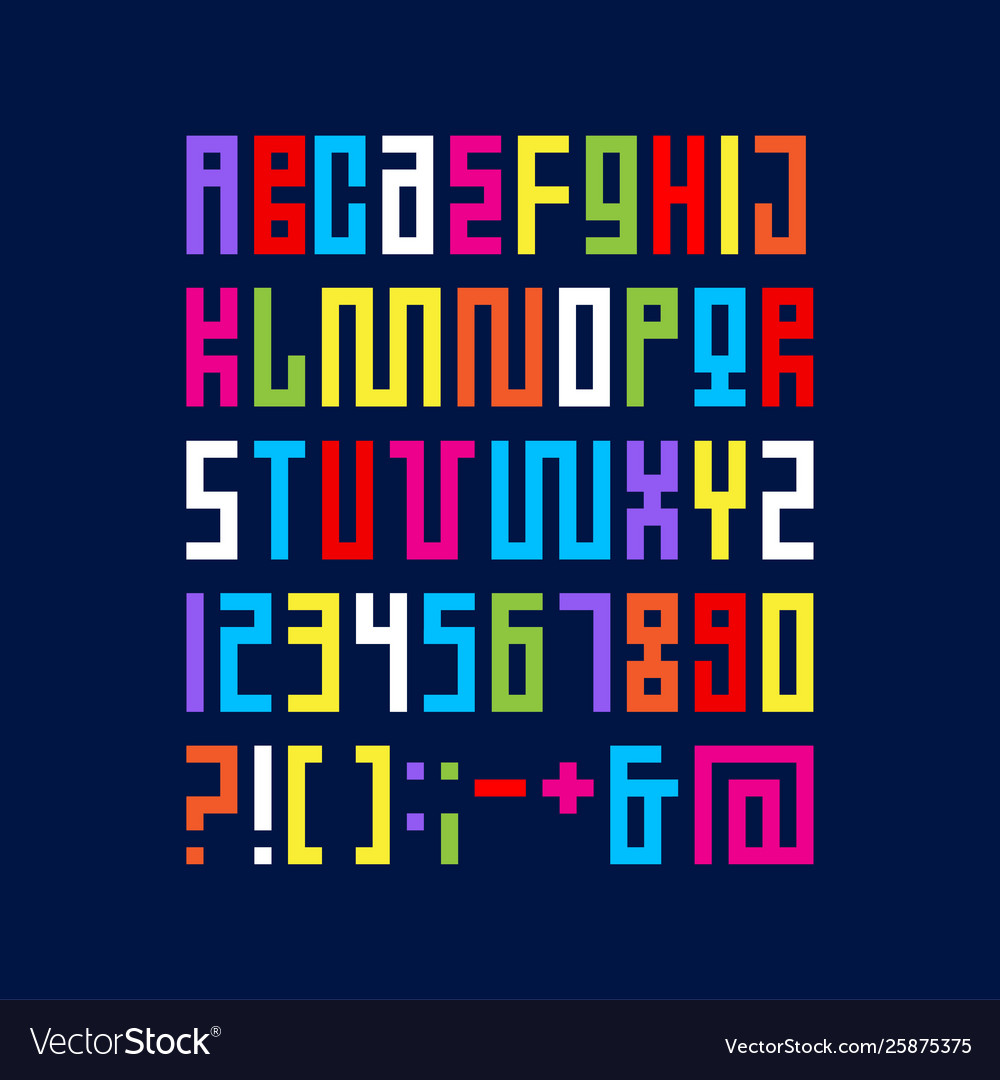 Alphabet pixel art letters from strips modules