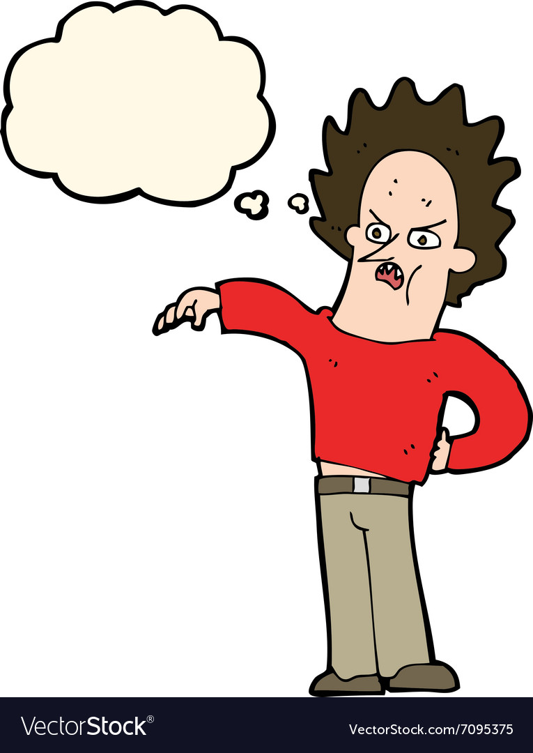 Cartoon Nasty Boy With Thought Bubble Royalty Free Vector