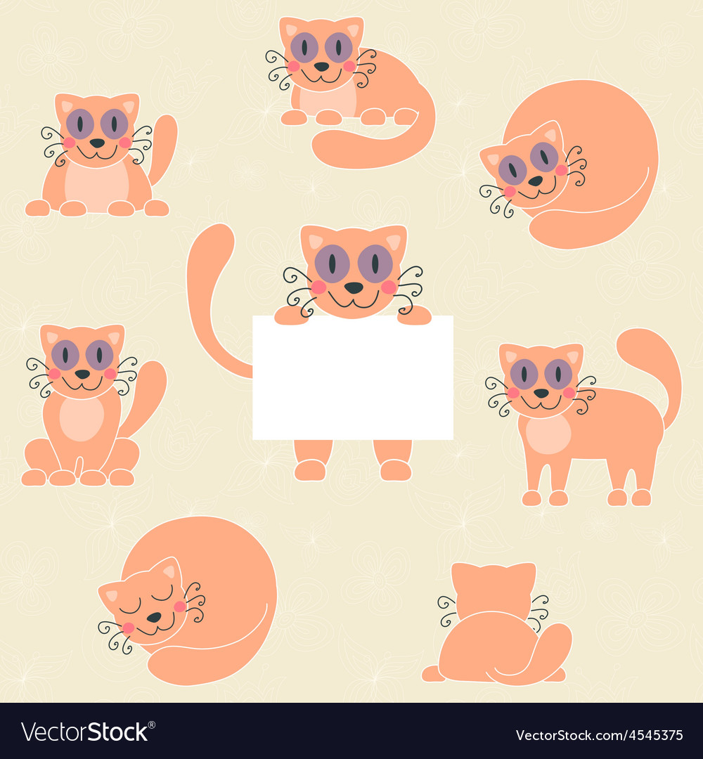 Cute red kitten set funny cat with sign