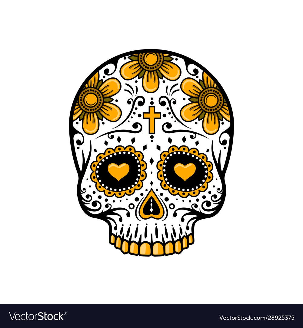 Day dead skull sugar flower tattoo