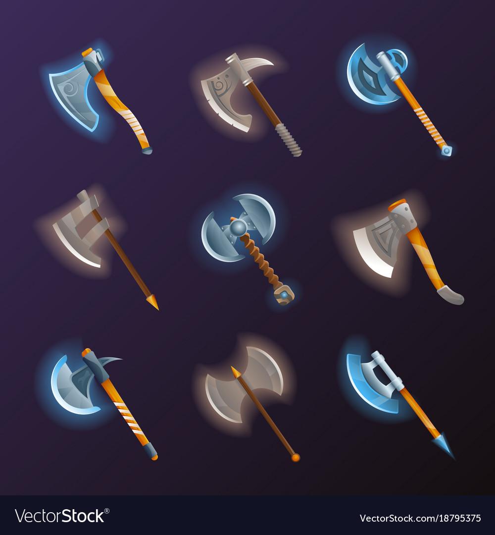 Fantasy medieval axes set